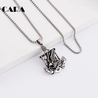 CARA New Vintage Jewelry Stainless Steel Titanium Color Navy Anchor Necklace Viking Fly Eagle Pendant Necklaces for Men CAGF0257