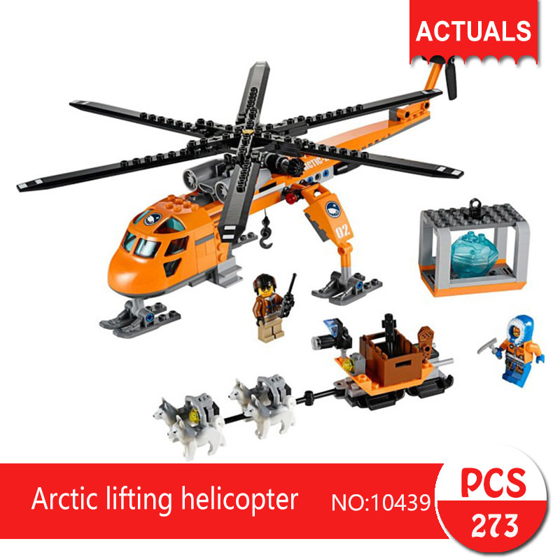 Lepin bela 10439 273Pcs City series Arctic lifting helicopter Model Building Blocks Set  Bricks Toys For Children Gift 60034 bela 10439 compatible lepin city arctic helicrane building blocks policeman figure toys for children girls