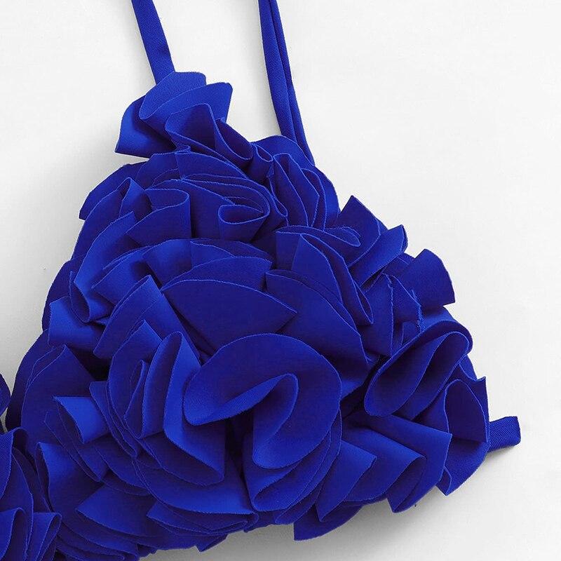 Blue Lace Up Back Bikinis 7