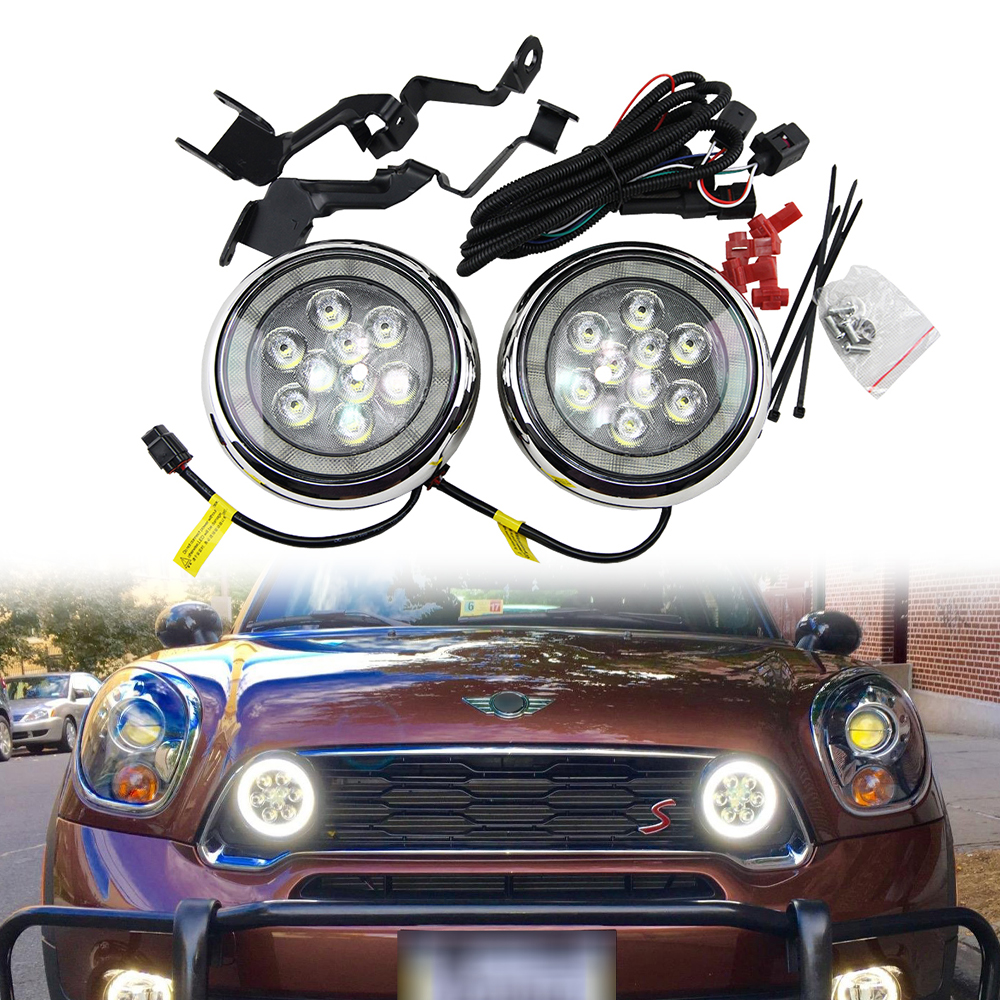 1 set Chrome Finish LED DRL with Halo Ring Daytime Running Light For MINI Cooper R55 Clubman R56 Hatch Hardtop R57 R58 Coupe цена