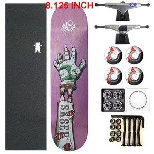 Image 3 - スケーター1セットプロ品質の完全なスケートボードデッキ8.125インチスケートボードホイール & トラック二ロッカースケートボードパーツ