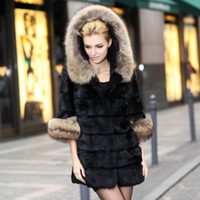 100% natural women real long rabbit fur coat with hood raccoon Fur trim lady coat plus size jacket winter overcoat outwear cloth