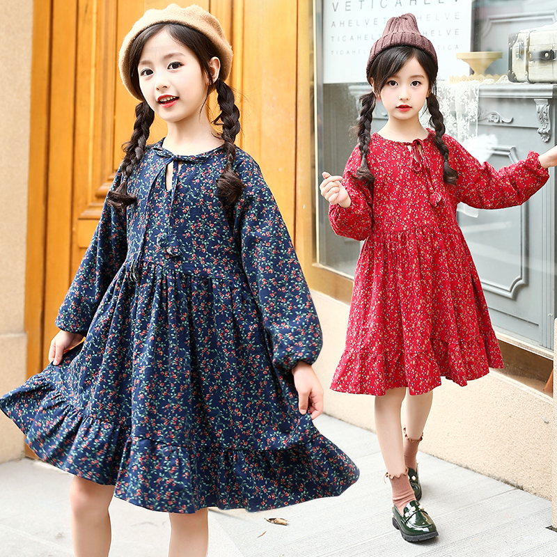 kids blue red casual loose floral dress winter dresses for girls 10 years spring autumn long sleeve warm cotton dress for girl