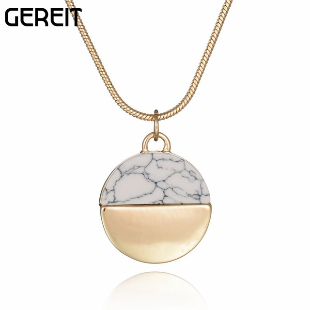 Gereit women fashion jewelry white gold pendant necklace half round gereit women fashion jewelry white gold pendant necklace half round faux marble stone charms statement necklace aloadofball Images