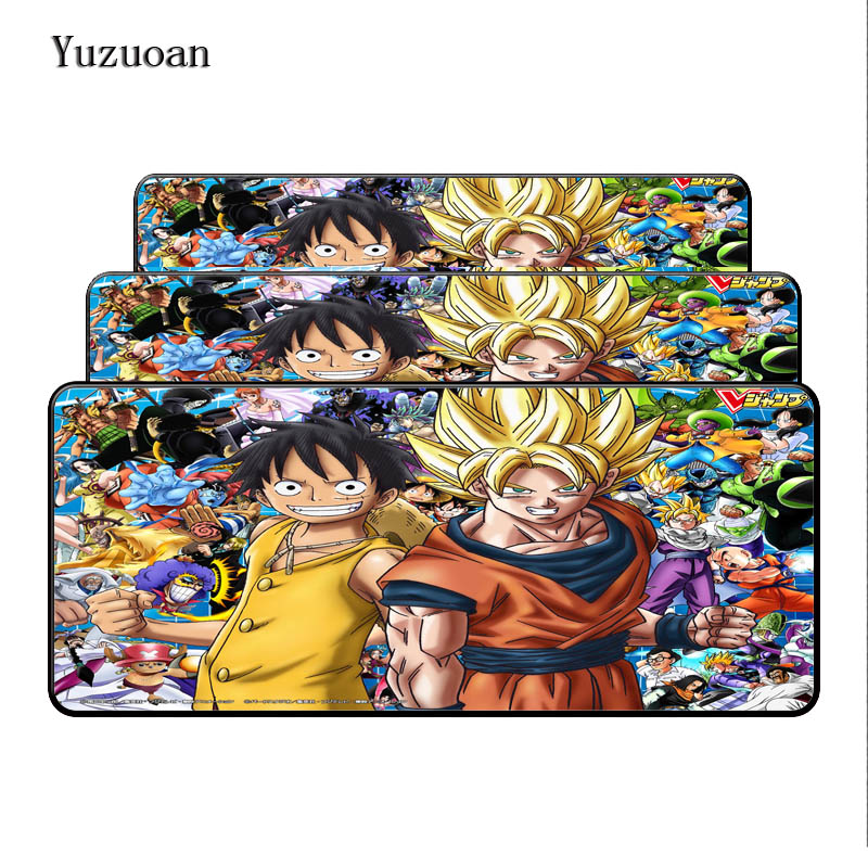 Yuzuoan Dragon Ball Z And One Piece Customized Support Lock Edge Mouse pad Rubber Mechanical gaming mouse Large Desk Mousemat
