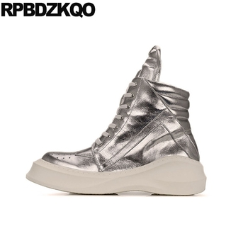 Wedge High Heel Thick Soled Boots Shoes Harajuku Men Silver Fur Top Platform Sneakers Big Size Sole Fashion Trainer Ankle Winter