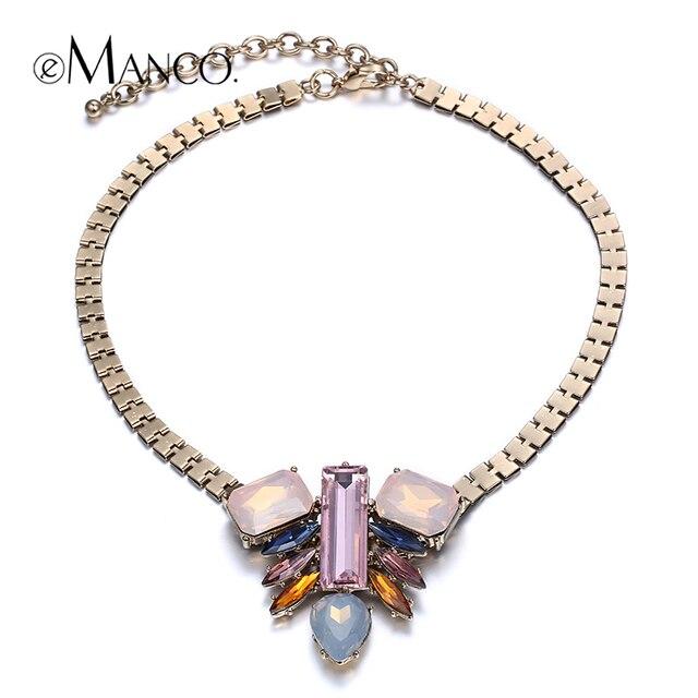 Corea del collar de cadena de oro de colores collar llamativo colgante de cristal eManco nueva llegada 2016 collar de moda para las mujeres NL13143