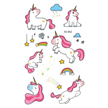 1pc Unicorn Temporary Tattoo Sticker Cartoon Star moon Cloud Icecream Rainbow Horse Decals Women Girl Kid Body Hand Arm Art New