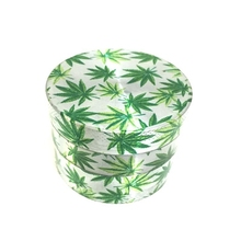 63mm 4levels Grinder Beautiful Herb  Zinc Alloy Leaf Picture Tobacco Smoke Crusher 2 Colors Smoking Accessories