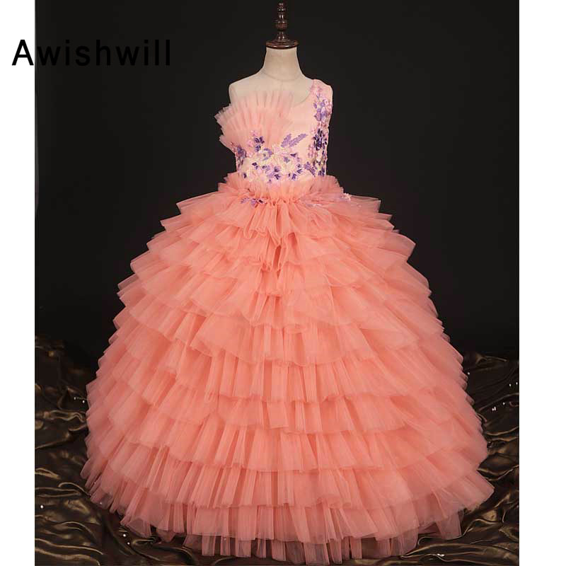 New Arrival 2019 Pageant   Dresses   for   Girls   One Shoulder Appliques Tiered Tulle Ball Gown   Flower     Girl     Dress   Long