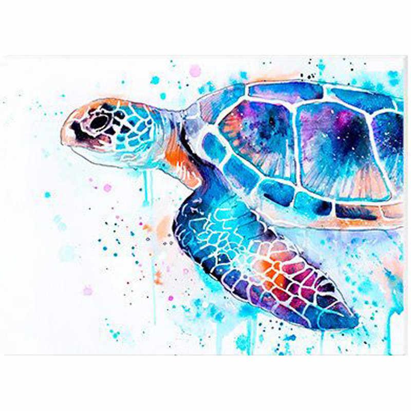 5D DIY Алмазная вышивка цветная морская черепаха алмазная живопись вышивка крестиком квадратная и круглая мозаика для алмазной вышивки украшения