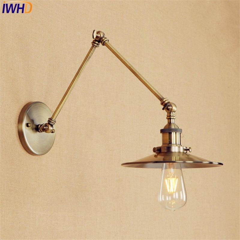 Longo Braço de Bronze Parede de Luz CONDUZIU a Iluminação Estilo Antigo Retro Vintage Industrial Edison Lâmpada de Parede Luminária Applique Murale