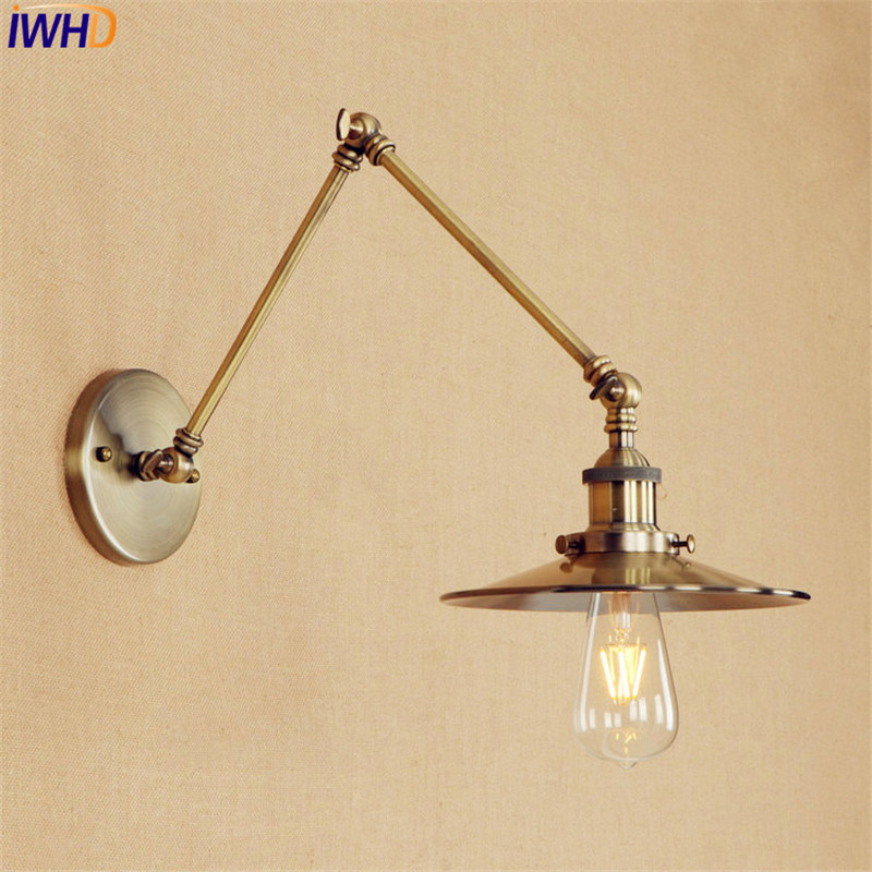 Long Arm Brass Wall Light LED Antique Industrial Retro Vintage Wall Lamp Edison Style Lighting Applique Murale Luminaire free shipping brass finished e27 industrial edison wall lamp antique copper vintage beside lighting ac90 250v for bedroom
