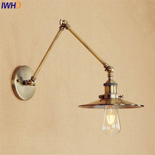 Long Arm Brass Wall Light LED Antique Industrial Retro Vintage Wall Lamp Edison Style Lighting Applique Murale Luminaire free shipping double arms no shade brass finished vintage edison wall lamp industrial lighting fixture for bedroom
