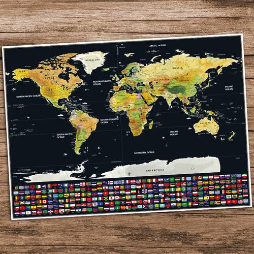 Gold World Map Poster.Practical Home Decoration Travel Edition Scratch Off World Map