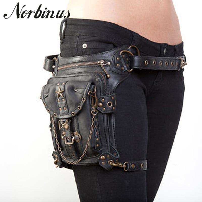 Norbinus Steampunk Waist Leg Bags Women Men Victorian Style Holster Bag Motorcycle Thigh Hip Belt Packs Messenger Shoulder Bags