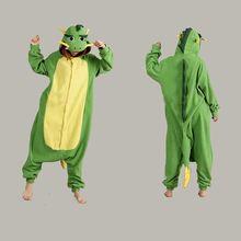 Yeni kış yetişkin Cosplay çin ejderha pijama Onesies Polar Polar yeşil ejderha pijama kadınlar erkekler için cadılar bayramı kostümleri