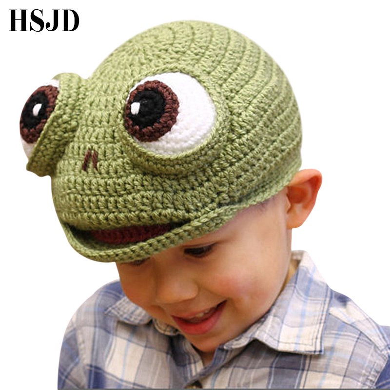 08dd6735 Funny 2-6 Years Kid Green Frog Handmade Knitted Hat Boys Winter Hat Cartoon  Caps Cute Autumn Children Frog Photography Props
