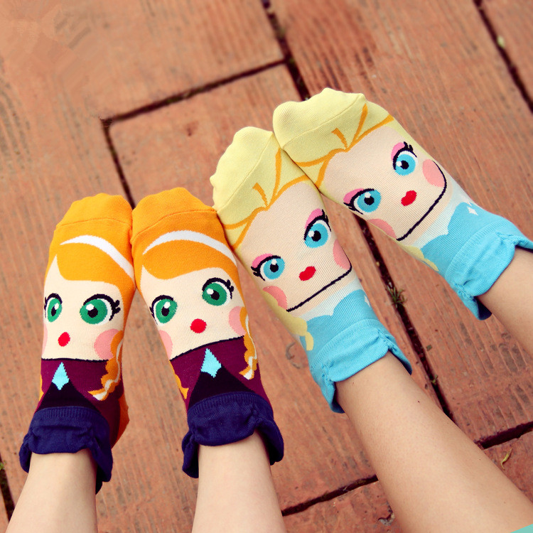 Hot!! Women Girl's Cartoon Cotton Ankle Socks Princess Anna Elsa Fiolla Jasmine Mermaid Fashion Tube Socks