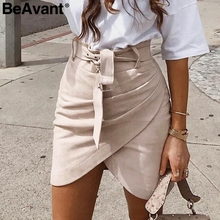 BeAvant Asymmetric suede leather skirts womens Sash high waist winter s