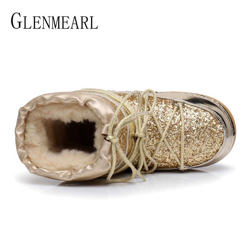 Kar botları kış ayak bileği çizmeler kadın ayakkabıları kürk sıcak botlar kadın artı boyutu rahat ayakkabılar platformu kaymaz altın Bling eksikliği DE