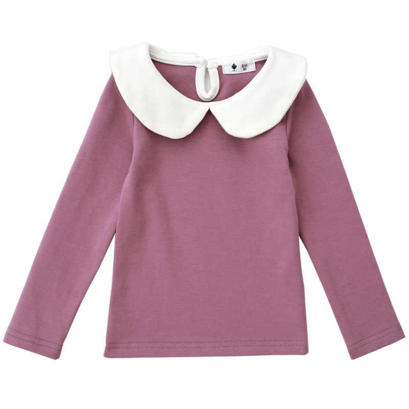 Bebé niñas camiseta de Peter pan Collar tocando fondo camisas de niña de algodón camisetas ropa de niños niñas blusa BC381