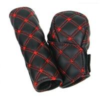 hand brake shift Hot Best 2Pcs/Set Faux Leather Hand Brake Shift Knob Cover Gear Case Car Interior Decor (1)