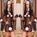 2015 New Sexy Mulheres Traje Cosplay Uniforme Transparente Sexy Lingerie Exotic Nun Halloween Freiras Trajes Vestido Outfit Roupas