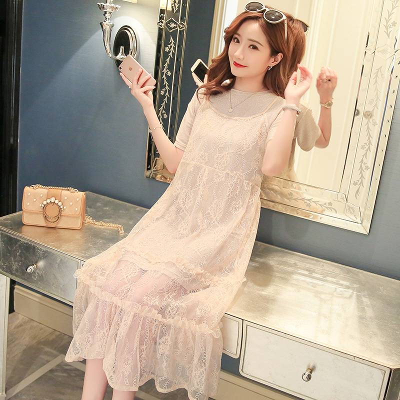 Korean version of the maternity dress long section two sets of tide mother pregnant skirt 2018 new summer lace dress