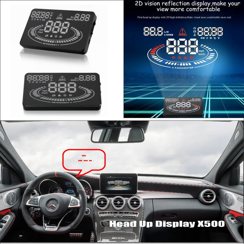 Car HUD Head Up Display For Mercedes Benz C C63 MB W202 W203 W204 W205 - Reflect your vehicles information onto windshield for mercedes benz w211 w203 w204 w124 w201 w202 5 5 4e car obdii euobd car hud head up display projector auto lamp lighting