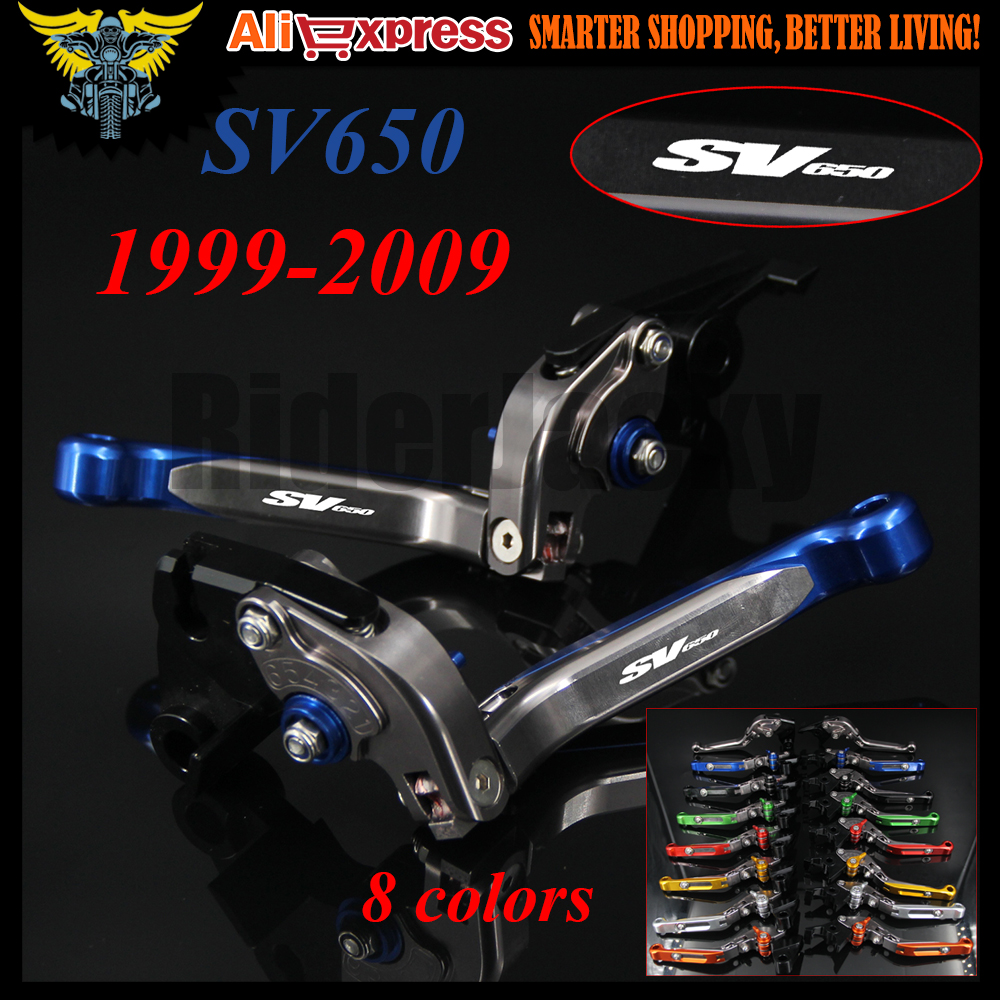 Blue&Titanium Adjustable Motorcycle Brake Clutch Levers For Suzuki SV650 1999 2000 2001 2002 2003 2004 2005 2006 2007 2008 2009 new style motorcycle cnc brake clutch levers for bmw f650gs 2000 2007 2001 2002 2003 2004 2005 2006 f800gs adventure 2008 2016
