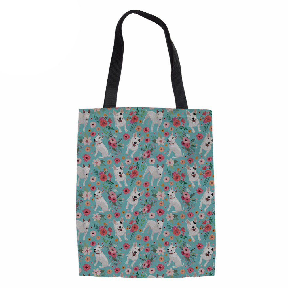 Canvas Tote Bag Fabric Cotton Cloth Reusable Shopping Bag Beach Handbags Bull Terrier Prints Grocery Bags Big