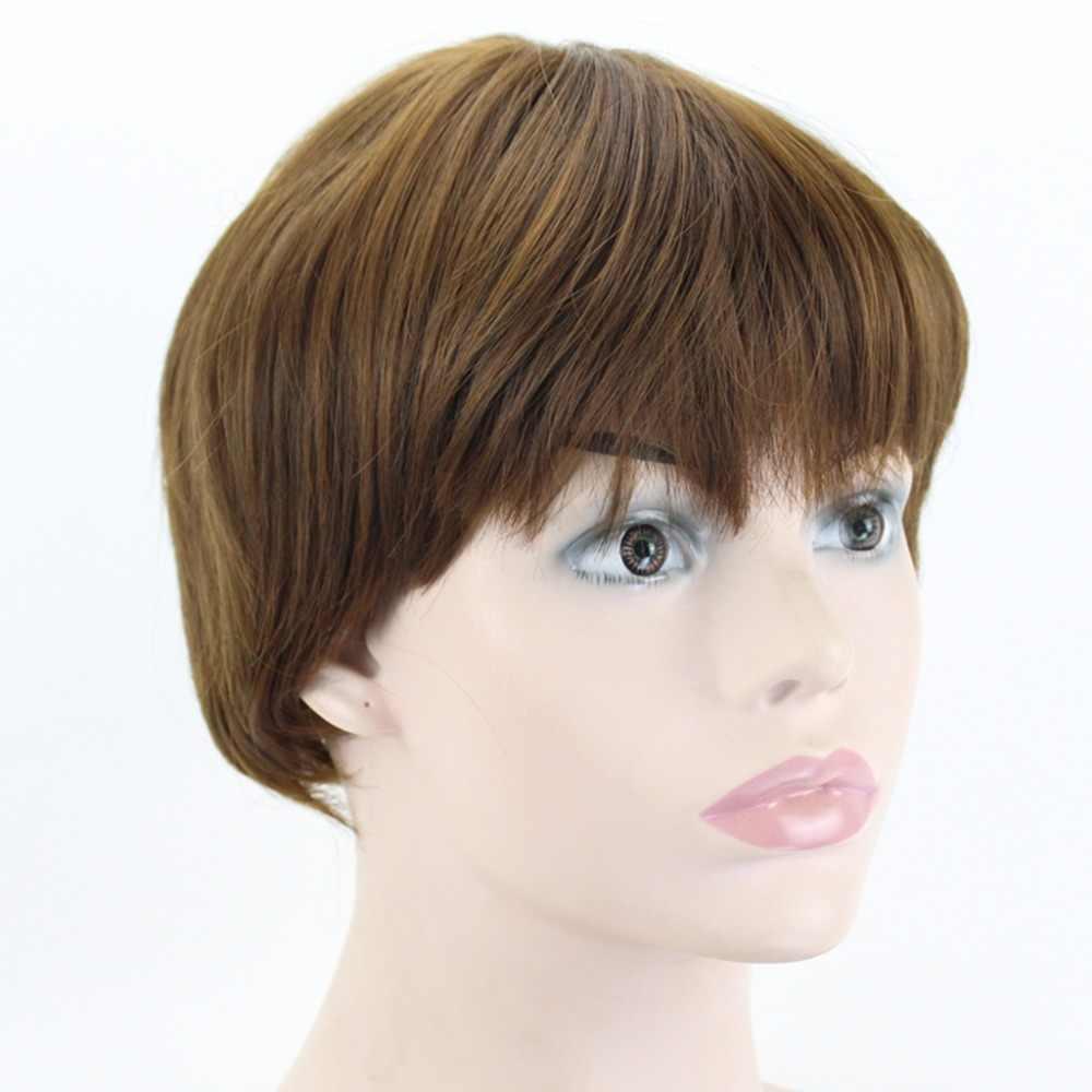 """השמחה יופי קצר גלי סינטטי לשיער שחור חום אפור בלונד 8 """"5 צבע קוספליי עמידה בחום פאת בוב נשים peruca"""
