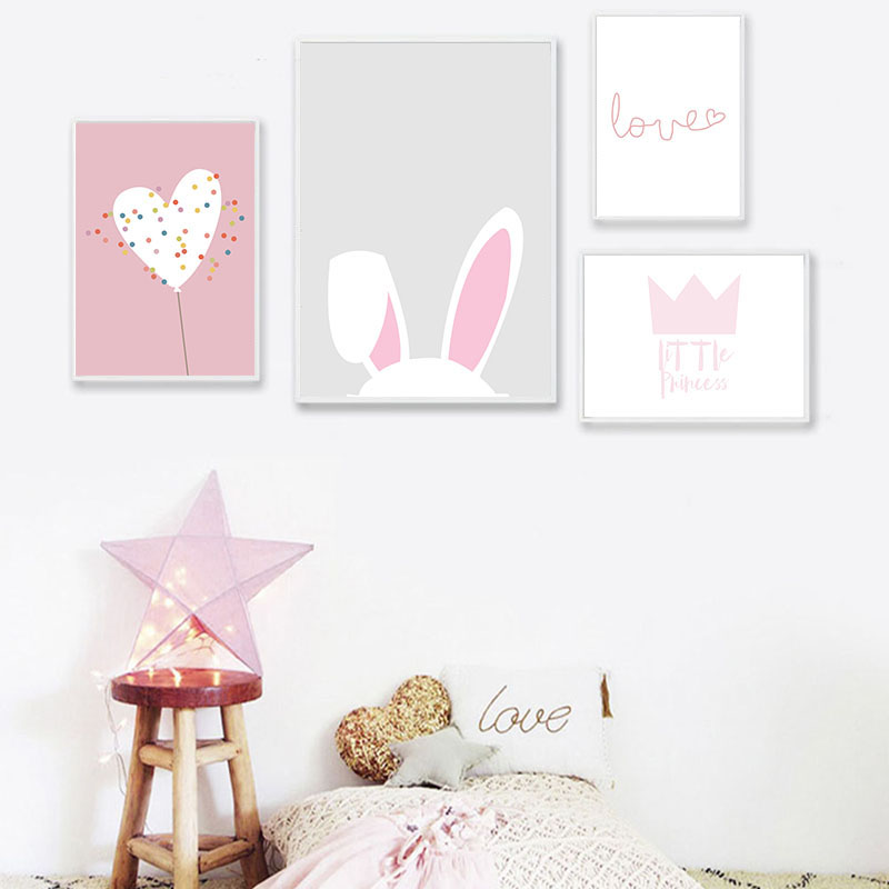 Pink Rabbit  Nursery Poster and Prints Home Cartoon Animal Decor Nordic Baby Room Decoration Pictures Unframed