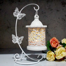 PINNY Moroccan Hollow Iron Lantern Butterfly Hook Decorative Candle Holder Vintage Cages Metal Wedding Candlestick