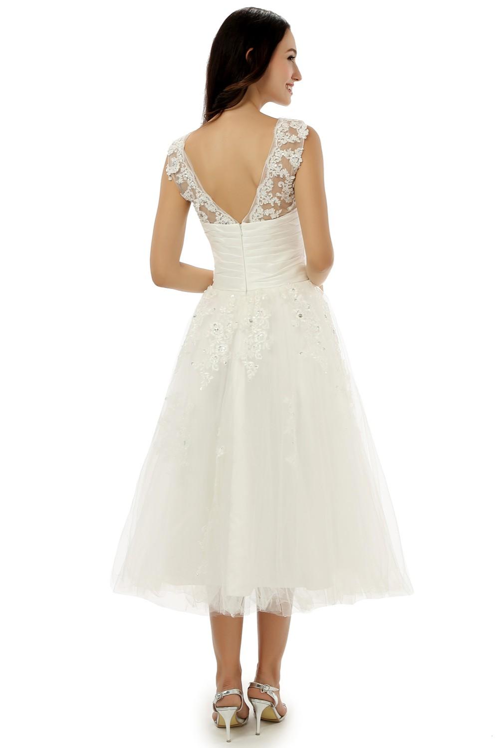 Vintage Lace Backless A-line Tea Length Wedding Dress