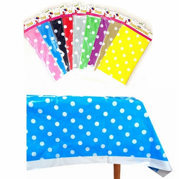Polk Dot Plastic Tablecloth Tablecover Baby Shower