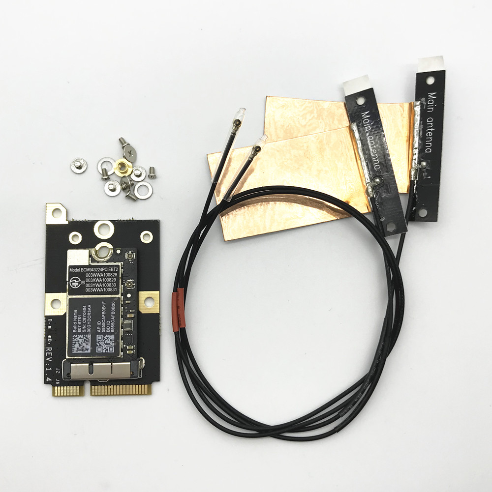 With MINI PCI-E Adapter BCM943224PCIEBT2 300Mbps 2.4&5G WiFi bluetooth 4.0 Network Card+Antennas