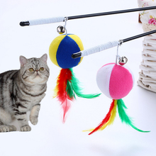 1Pcs Pet toys Feather Bell Rod Toys for Cat Teaser Multi Soft Colorful Kitten Funny Playing Interactive Hot Selling