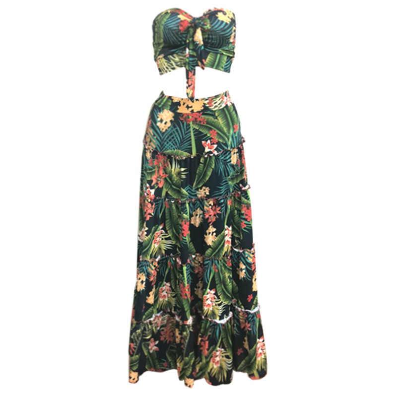 Sexy femmes Boho deux pièces ensemble haut court jupe longue Bandeau imprimé fleuri sans bretelles Bandeau volants taille haute jupes ensemble de vacances