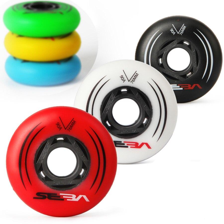 100% D'origine SEBA Inline Skate Roues 85A Pour Slalom Et 90A Pour Coulissante Rouleau De Patinage Roues 72 76 80mm 8 pcs/ensemble Patines Pneu