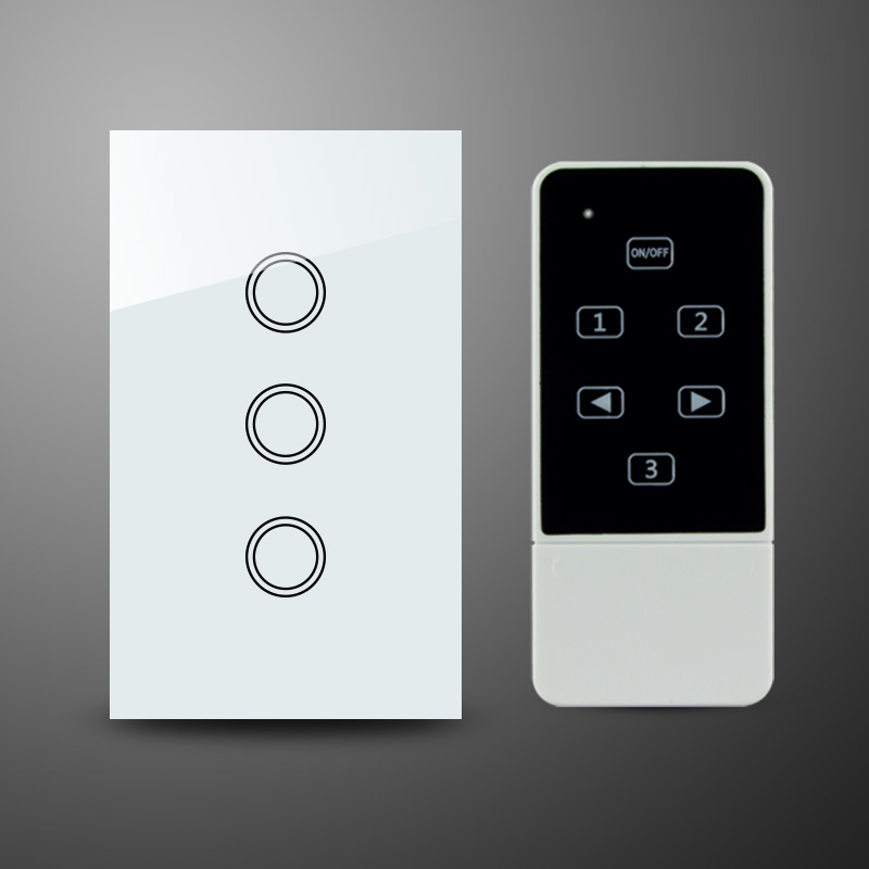 US AU Standard Crystal Glass Panel 3Gang Touch Light Switches with Remote Control RF 433Mhz Electrical Wall Switch us standard 1gang 1way remote control light touch switch with tempered glass panel 110 240v for smart home hospital switches