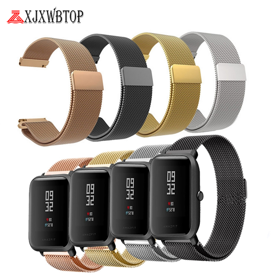 Milanese Metal Watchband Wristband For Amazfit Bip Watch Strap For Xiaomi Huami Amazfit Bip Youth Watch Milanese Stainless Steel