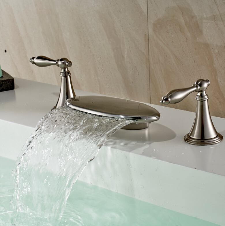 Luxury 3pcs Brushed Nickel Bathroom Sink Basin Faucet Dual Handles Waterfall Basin Sink Faucet Tap