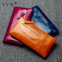 Wholesale Unisex Wallet Solid Color PU Leather Women's Purse Large Capacity Clutch Male Coin Purse Hot Sale Men Yellow Wallets