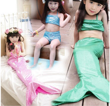 Girl Mermaid Tail Swimmable Monofin Capable Sea-maid Fantasia Princess Bikini Swimwear Beach Kids Children Dress fairy tail(China)