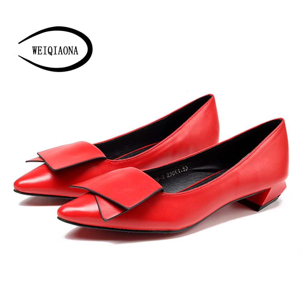 WEIQIAONA Women four season OL elegant fashion brand single shoes shallow low heel Pointed toe pump lady shoes Red Wedding shoes new 2016 factory matte shoe women pointed toe red bottom low heel pump lady single ol work career spring fall shoes 678 2suede