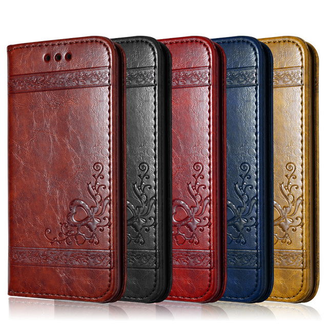 Leather Flip Phone Case For iPhone 7 Plus 6s Plus 5s 4s Samsung Galaxy S3 S4 S5 S6 S7 Edge S8 Plus Note 3 4 5 Card Phone Bags