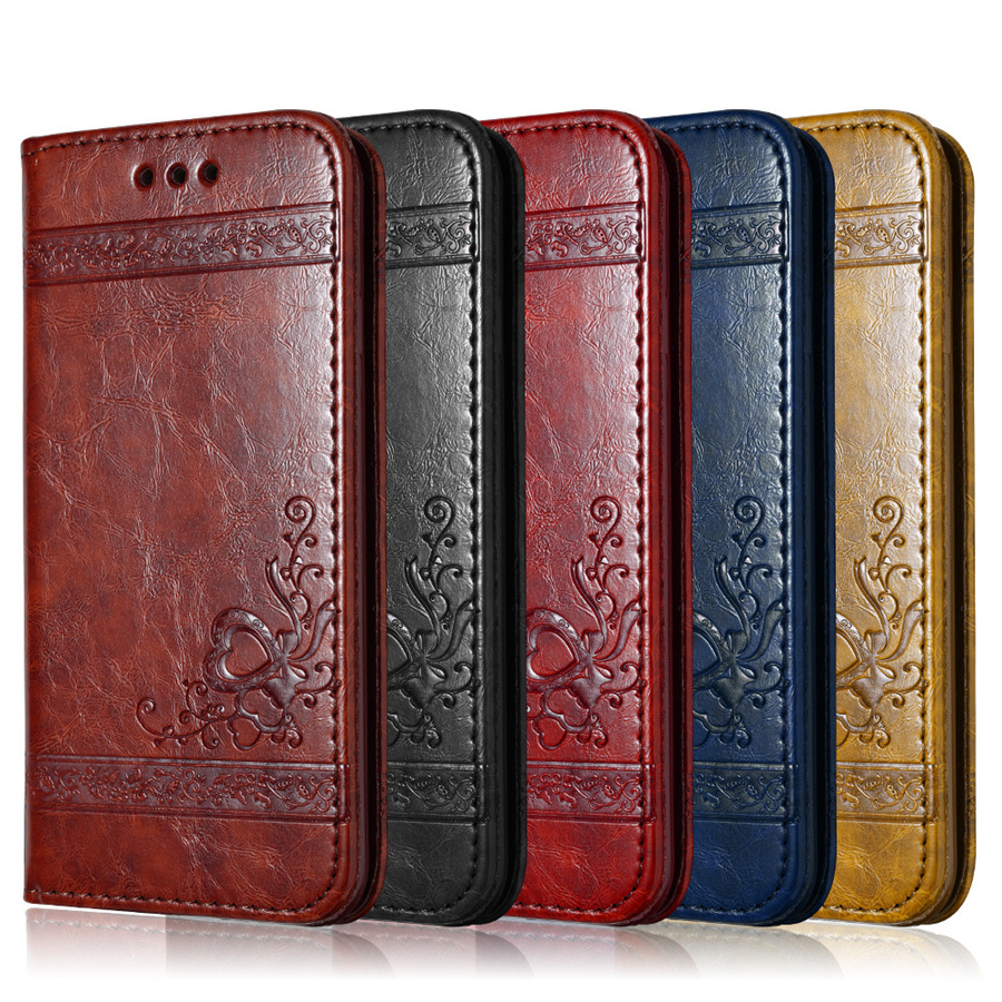 Leather Flip Phone Case For iPhone 7 Plus 6 6s Plus 5s 4s Samsung Galaxy S6 S7 Edge Wallet Card Holder Stand Phone Cover Bags