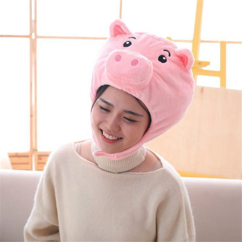 Anime Movie Animal Pink Pig Hat Cosplay Props Accessories Plush Head Fancy Cap in Boys Costume Accessories from Novelty Special Use